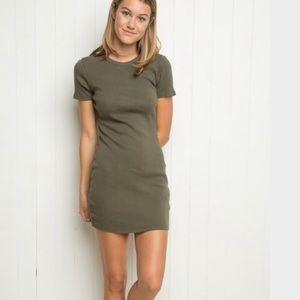 Brandy Melville Jenelle Olive Mini Dress